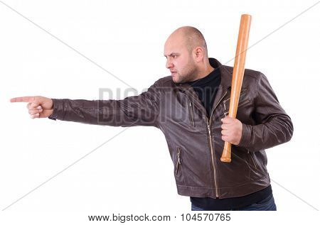 Man with baseball bat isolated on white