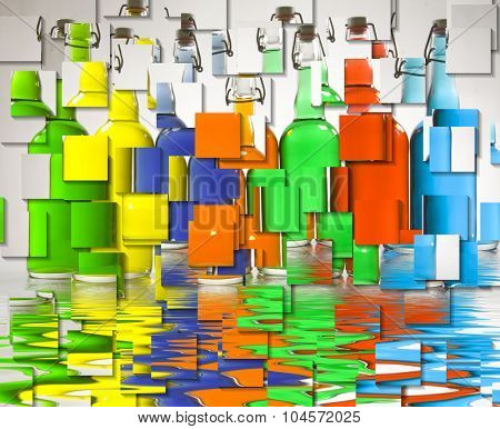 Color FIlled Bottles Abstract