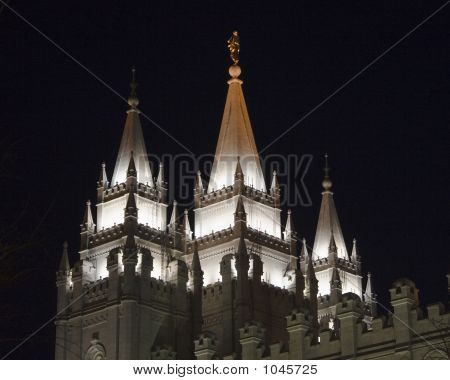 Salt Lake Temple East Spires From Southwest At Night