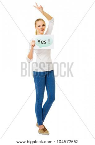 Young girl with yes banner isolated