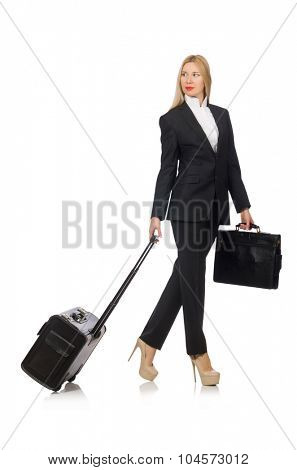 Businesswoman woman travelling with suitcase