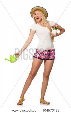 Young woman in gardening concept on white