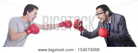 Two boxers isolated on the white