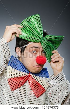 Funny clown with red nose