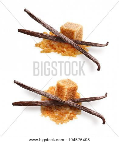 Brown cane sugar cube isolated on white background.