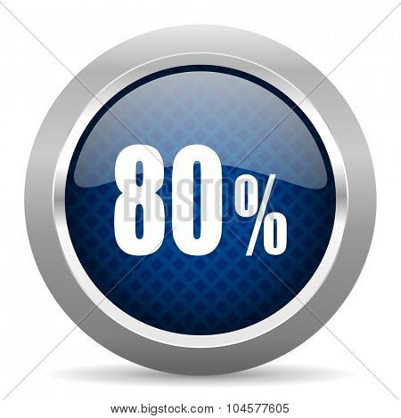 80 percent blue circle glossy web icon on white background, round button for internet and mobile app