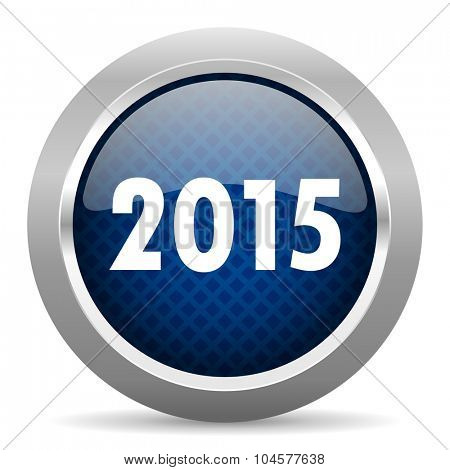 new year 2015 blue circle glossy web icon on white background, round button for internet and mobile app
