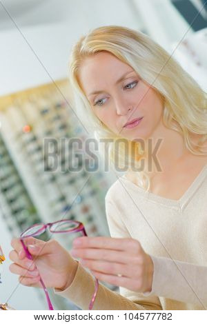 Choosing frames at the opticians
