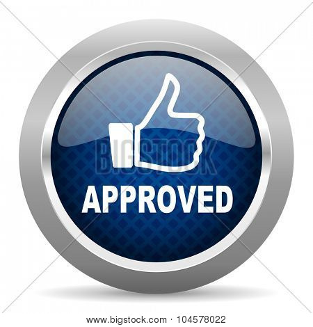 approved blue circle glossy web icon on white background, round button for internet and mobile app