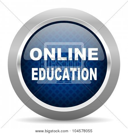 online education blue circle glossy web icon on white background, round button for internet and mobile app