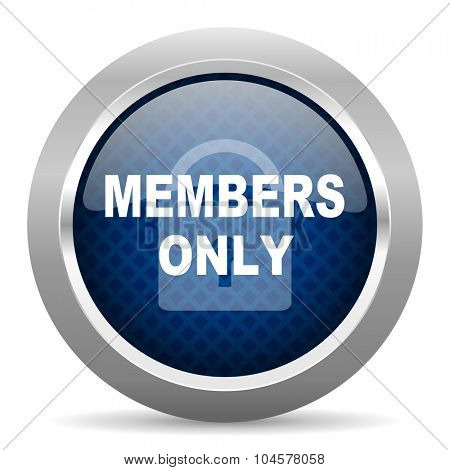 members only blue circle glossy web icon on white background, round button for internet and mobile app