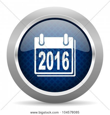 new year 2016 blue circle glossy web icon on white background, round button for internet and mobile app
