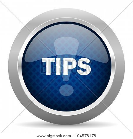 tips blue circle glossy web icon on white background, round button for internet and mobile app