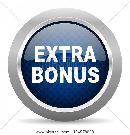 extra bonus blue circle glossy web icon on white background, round button for internet and mobile app