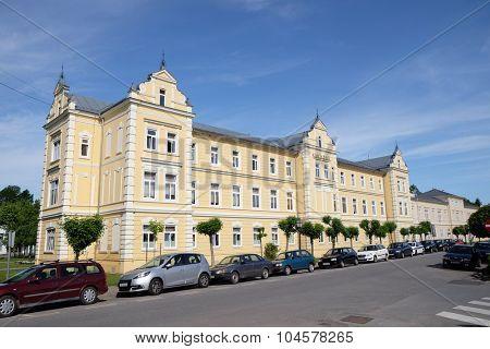 LIPIK, CROATIA - MAY 07: Kursalon in Lipik, largest and most representative building in Lipik health resort is now used as a hospital. Lipik, Croatia on May 07, 2015