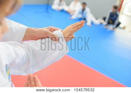 Kids in a martial arts lesson