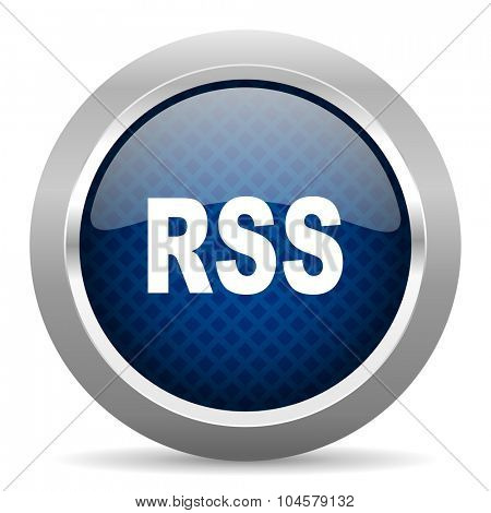 rss blue circle glossy web icon on white background, round button for internet and mobile app
