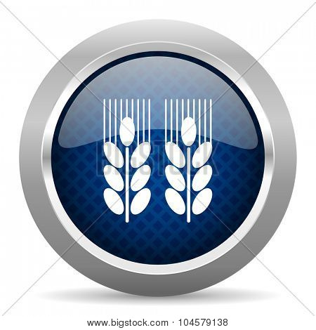 agricultural blue circle glossy web icon on white background, round button for internet and mobile app