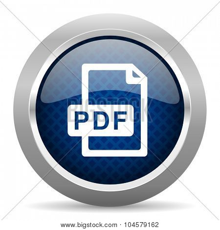 pdf file blue circle glossy web icon on white background, round button for internet and mobile app