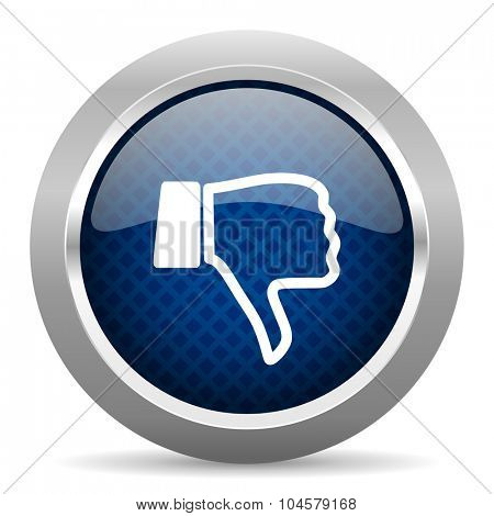 dislike blue circle glossy web icon on white background, round button for internet and mobile app