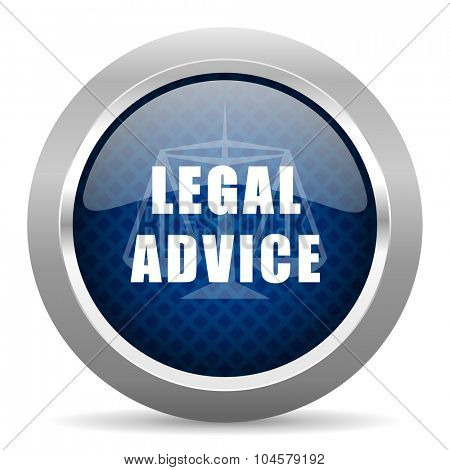 legal advice blue circle glossy web icon on white background, round button for internet and mobile app