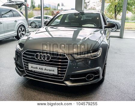 Baden-Baden, Germany - October 10, 2015: New models of the brand Audi in a dealer's showroom in Baden-Baden, Germany. Audi A6 Avant
