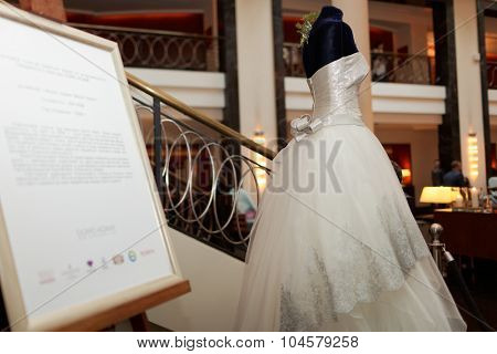 ST. PETERSBURG, RUSSIA - OCTOBER 9, 2015: Platinum wedding gown designed by Mauro Adami exhibited in the Corinthia Hotel. The dress worth $400,000 will be exposed here during next 2 days