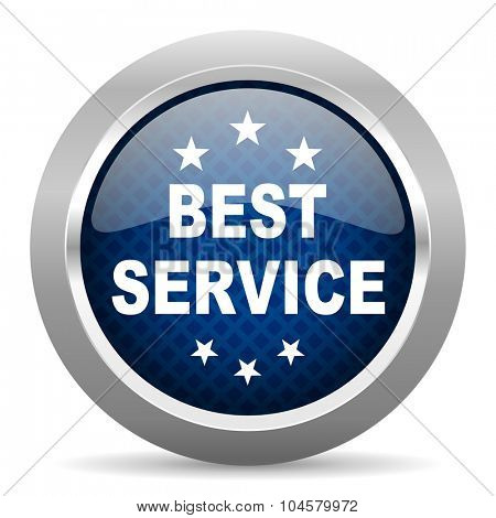best service blue circle glossy web icon on white background, round button for internet and mobile app