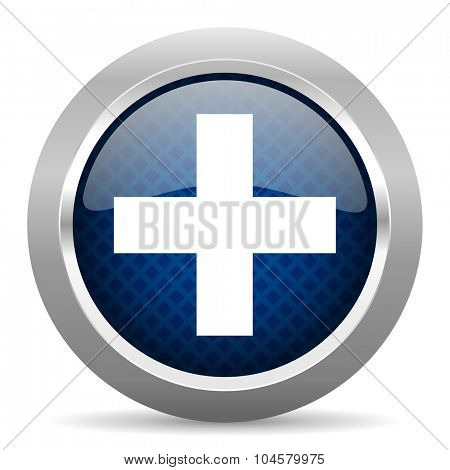 plus blue circle glossy web icon on white background, round button for internet and mobile app