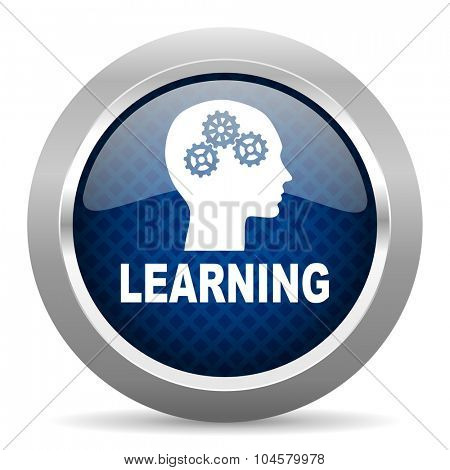 learning blue circle glossy web icon on white background, round button for internet and mobile app