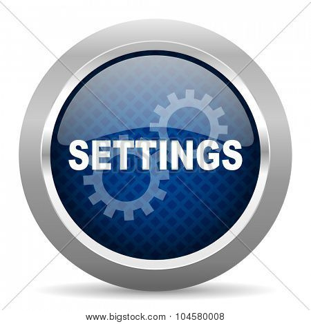 settings blue circle glossy web icon on white background, round button for internet and mobile app