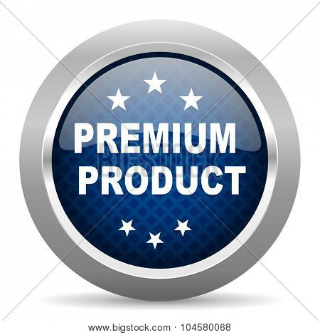 premium product blue circle glossy web icon on white background, round button for internet and mobile app