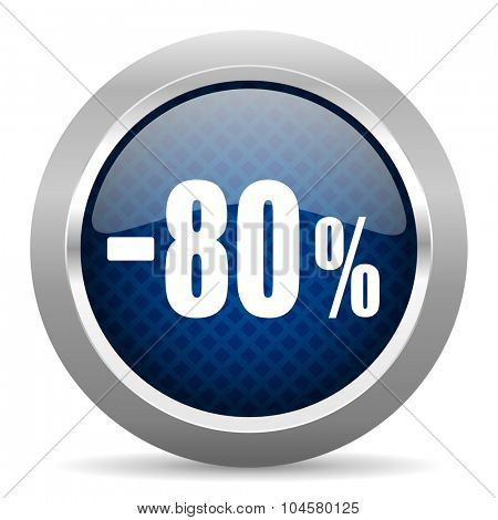 80 percent sale retail blue circle glossy web icon on white background, round button for internet and mobile app