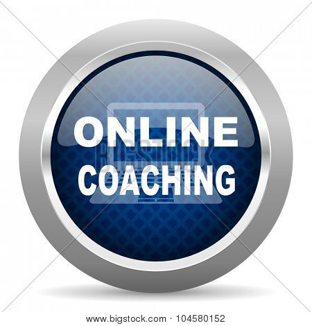 online coaching blue circle glossy web icon on white background, round button for internet and mobile app