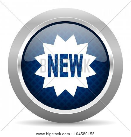 new blue circle glossy web icon on white background, round button for internet and mobile app
