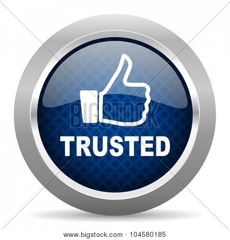 trusted blue circle glossy web icon on white background, round button for internet and mobile app