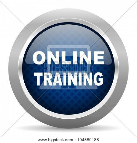 online training blue circle glossy web icon on white background, round button for internet and mobile app