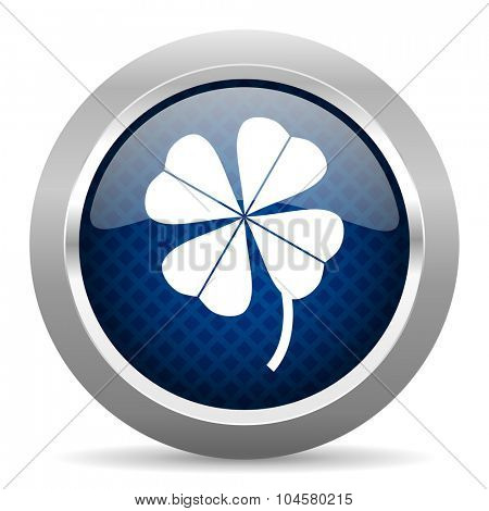 four-leaf clover blue circle glossy web icon on white background, round button for internet and mobile app