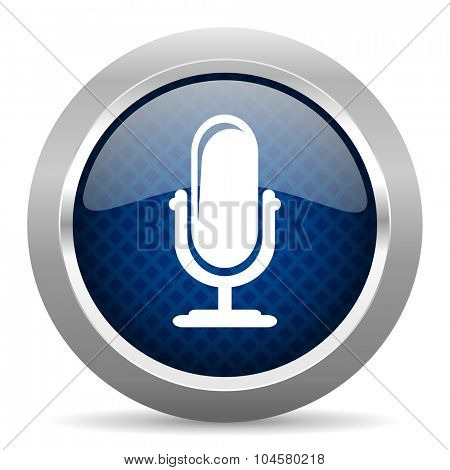 microphone blue circle glossy web icon on white background, round button for internet and mobile app