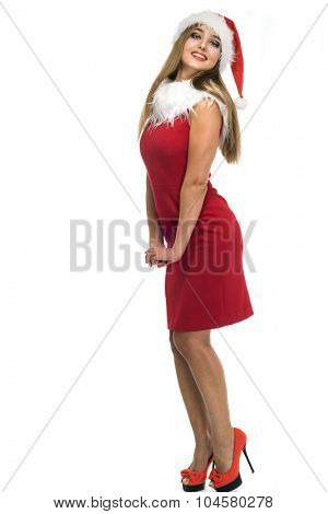 beauty woman in red santa hat over white background