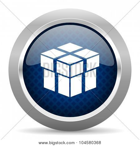 box blue circle glossy web icon on white background, round button for internet and mobile app