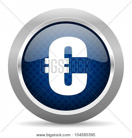 euro blue circle glossy web icon on white background, round button for internet and mobile app