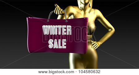 Winter Sale with a Lady Holding Shopping Bags