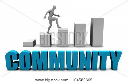 Community 3D Concept  in Blue with Bar Chart Graph