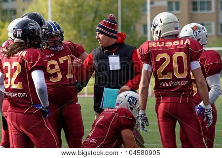 PUSHKIN, LENINGRAD OBLAST, RUSSIA - OCTOBER 10, 2015: American football team Russia during the qualifying match of European Championship 2016 against Norway. Russia won the match 20:0
