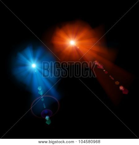 Two Stars With Lens Flares
