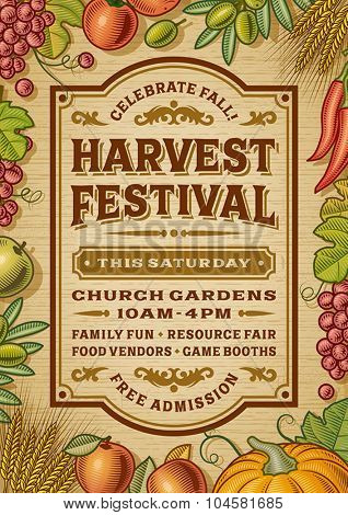 Vintage Harvest Festival Poster. Editable EPS10 vector illustration with clipping mask and transparency.