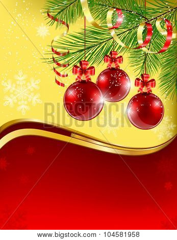 Christmas card with red balls