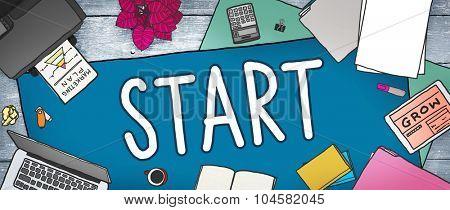Start Journey Mission Achievement Begin Concept