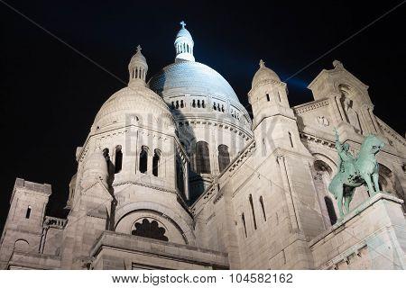 The Basilica Sacre Coeur At Night, Paris, France.